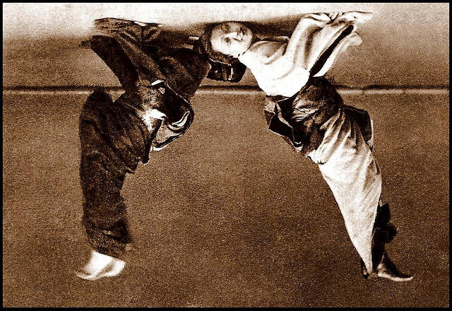 "Original photo ""Two Drunken Geishas Breakdance in Old Japan"" by Okinawa Soba @flickr"