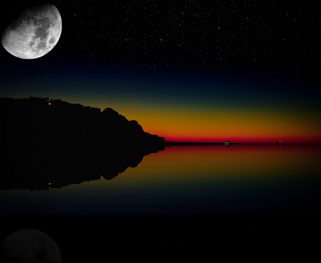 """Starry Night"" by Dave Morrow's Custom Creations @flickr.com A photo of large white moon and stars against a twilight drenched in hues of orange, red, and dark blue. Magic."